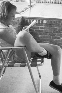 reading on porch