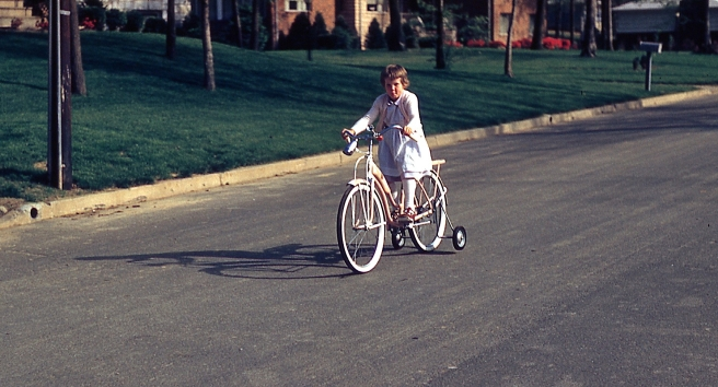 dress on bike 1959
