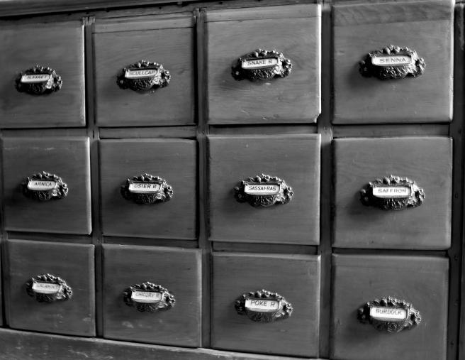herb drawers